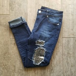 Gold Sequin Skinny Jeans